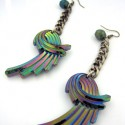 Carnival luster charms & beads on flat gunmetal chain