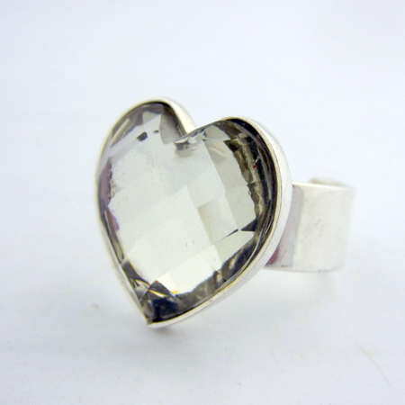 Small heart shape silver ring with clear stone